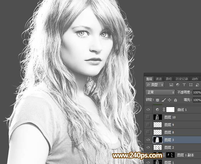 用PS钢笔和蒙版抠取金发美女照片换背景