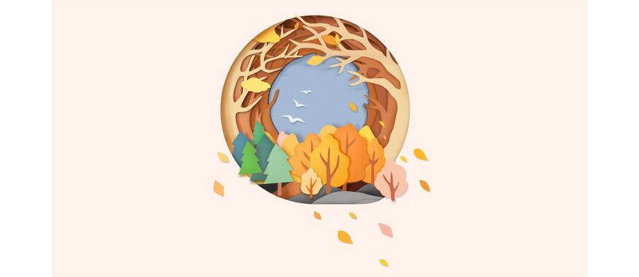 绘制秋季剪纸风格插画图片的PS教程