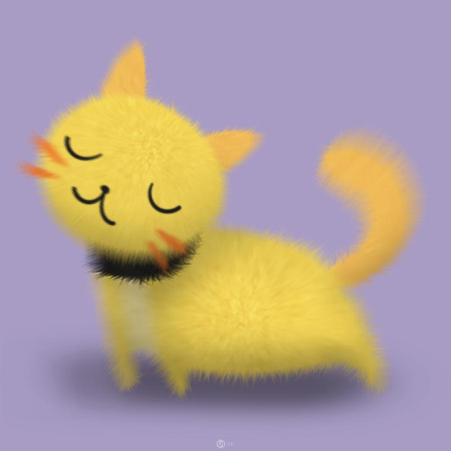 鼠绘毛茸茸可爱卡通猫咪图片的PS教程