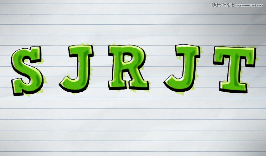 制作绿色水彩卡通艺术u乐现金网登录的PS教程