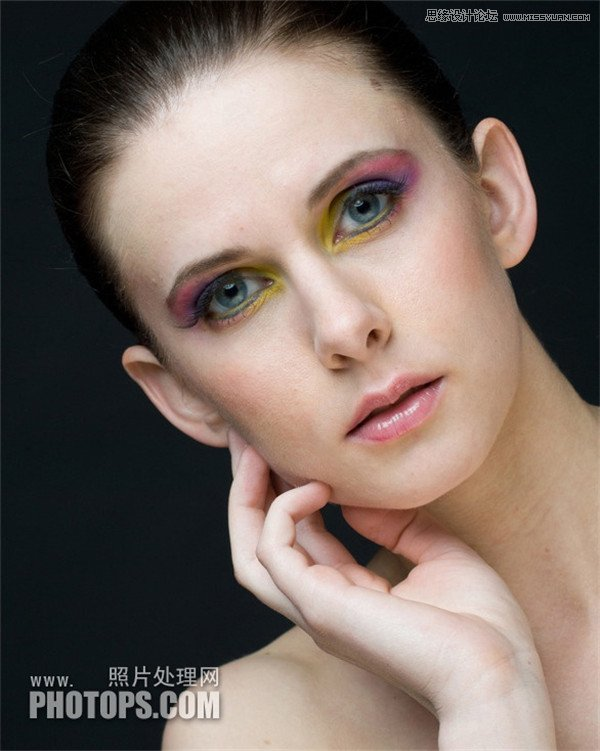 对模特头像照片精修磨皮处理的PS教程