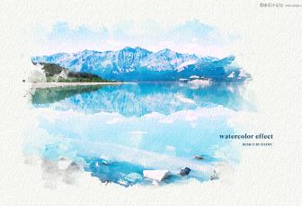 用PSu乐现金网网址制作水彩风格水墨风景图片