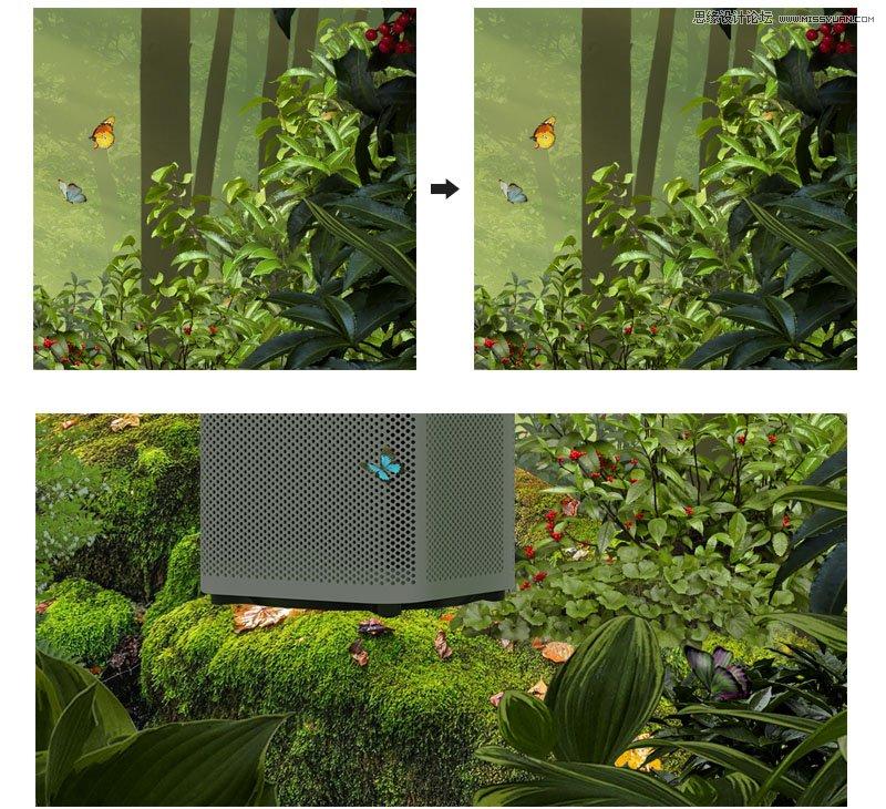 PS设计茂盛森林中的空气净化器海报图片
