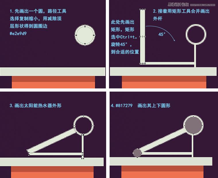 PS设计扁平化乡村房屋夜景插画图片