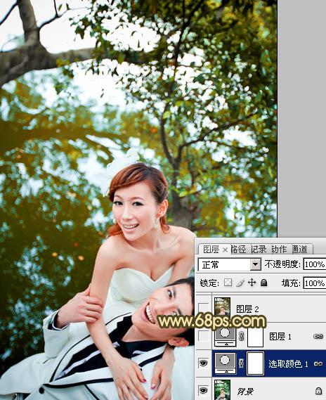 PS调出经典红褐色的树林情侣婚纱照片