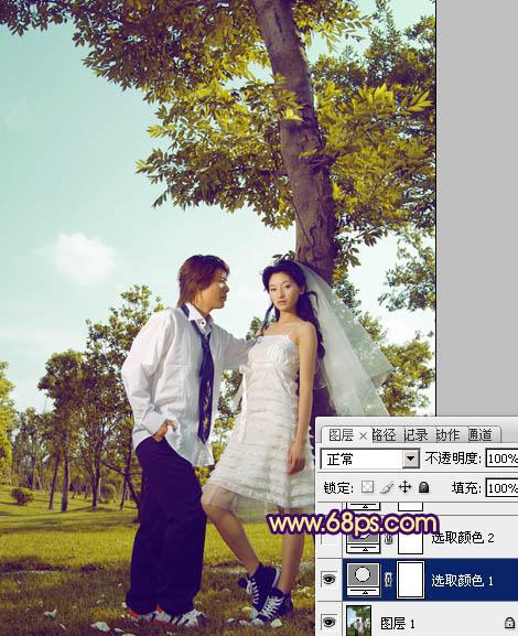 用PS把情侣婚纱照片调成时尚黄褐色