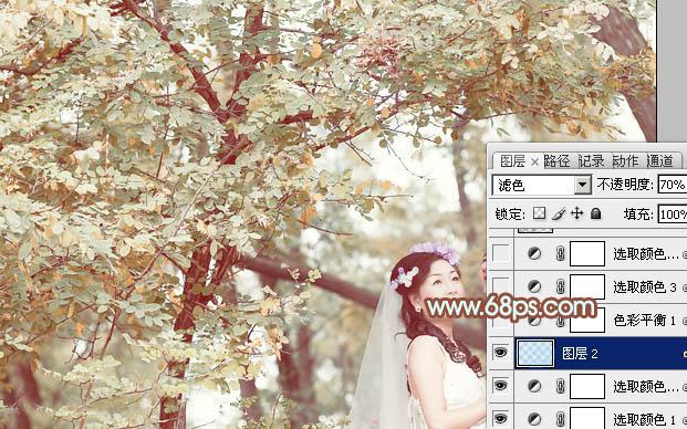 PS调出橙黄色树林中的情侣婚纱照片