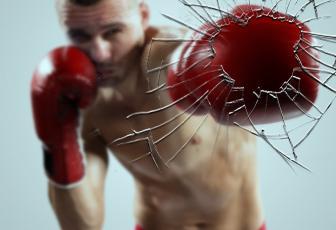 用PSu乐现金网注册拳手击破玻璃裂纹图片效果