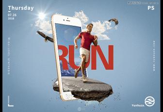 PS合成苹果手机中冲出的跑步运动员图片