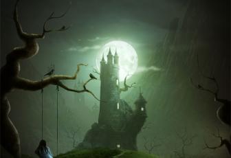 用PS合成童话故事中的黑夜恐怖城堡图片