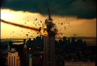 合成天外陨石撞击大楼爆炸图片的PS教程